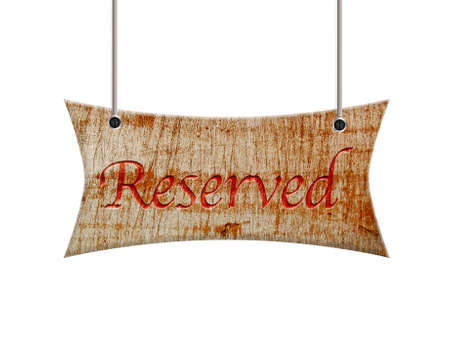 Illustration with a wooden sign of reserved  Stock Photo