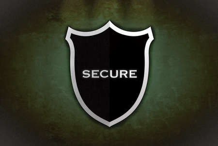 Illustration with black secure shield on green background  illustration