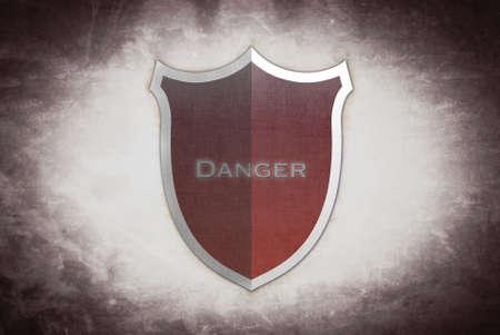 Illustration with danger shield on brown background  illustration