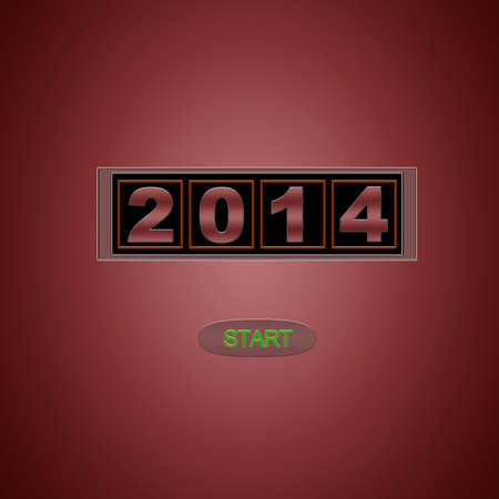 Illustration with 2014 start on red background  illustration