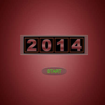 Illustration with 2014 start on red background Stock Illustration - 19790722