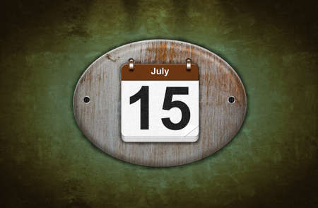 15 months old: Illustration old wooden calendar with July 15  Stock Photo