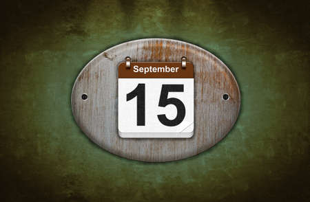 15 months old: Illustration old wooden calendar with September 15  Stock Photo