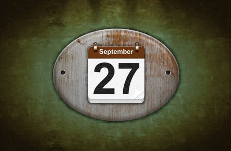 27 years old: Illustration old wooden calendar with September 27  Stock Photo