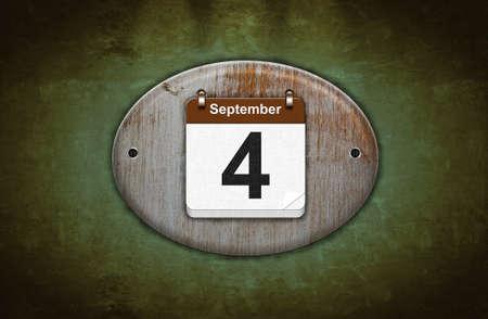 Illustration old wooden calendar with September 4  illustration