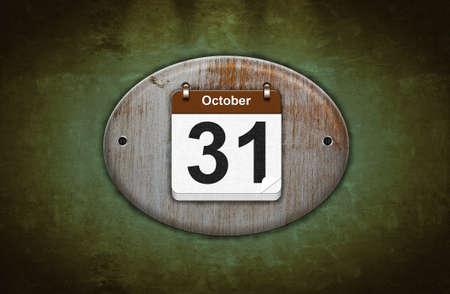 oct 31: Ilustraci�n calendario antiguo de madera con 31 de octubre