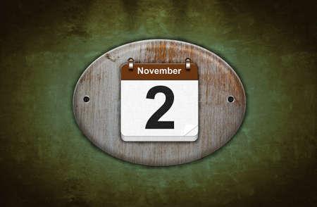 2 november: Illustration old wooden calendar with November 2