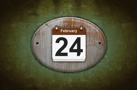 24 month old: Illustration old wooden calendar with February 24  Stock Photo