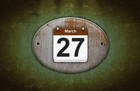 27 years old: Illustration old wooden calendar with March 27  Stock Photo