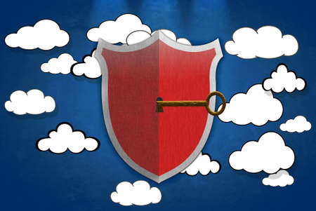 Illustration with shield signal on safety cloud  illustration