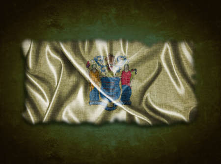 jersey: Illustration with a vintage New Jersey flag on green background  Stock Photo