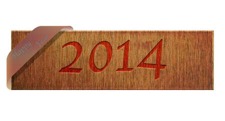 Illustration with a wooden sign of Happy Year 2014  illustration