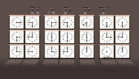 Illustration with 2014 time clock on white background  illustration