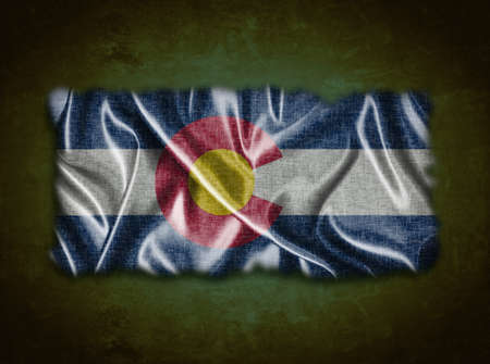 flag of colorado: Illustration with a vintage Colorado flag on green background  Stock Photo