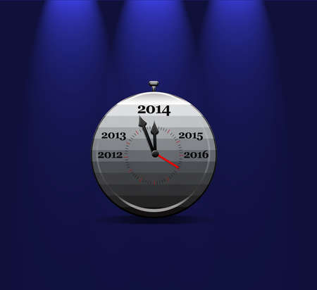 Illustration with a metal clock calendar 2014  illustration