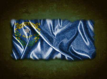 carson city: Illustration with a vintage Nevada flag on green background  Stock Photo