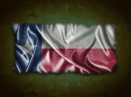 Illustration with a vintage Texas flag on green background  illustration