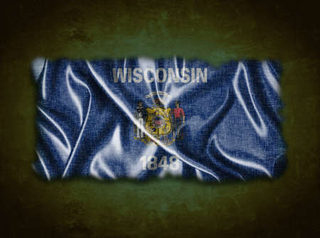 madison: Illustration with a vintage Wisconsin flag on green background
