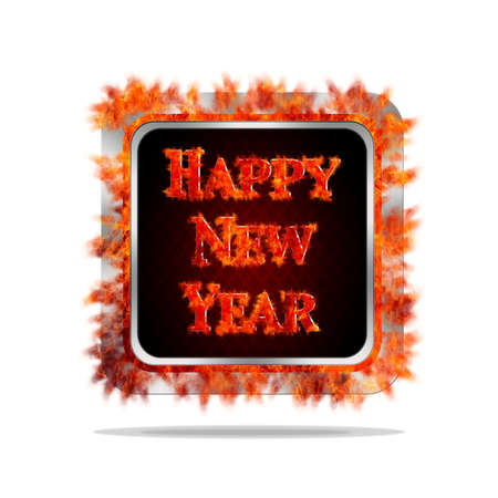 Aluminum frame illustration with happy new year burning signal  illustration