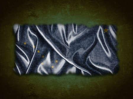 Illustration with a vintage Alaska flag on green background Фото со стока - 21539521