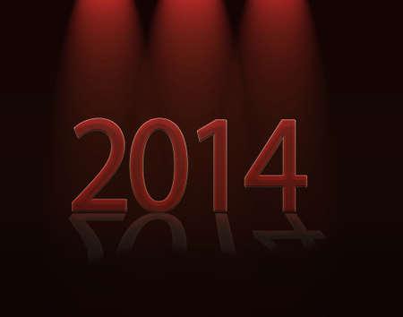 Illustration with a sign red calendar 2014  illustration