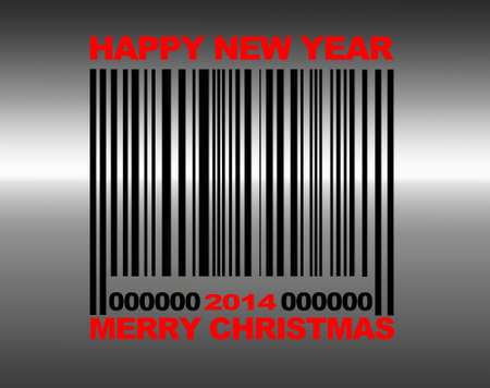 Illustration with a Barcode Merry Christmas 2014  Stock Illustration - 21616914