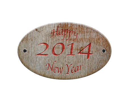 Illustration with a wooden sign of Happy 2014 Stock Illustration - 21616918