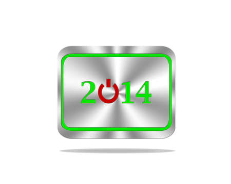 Aluminum frame illustration with 2014 on white background  illustration