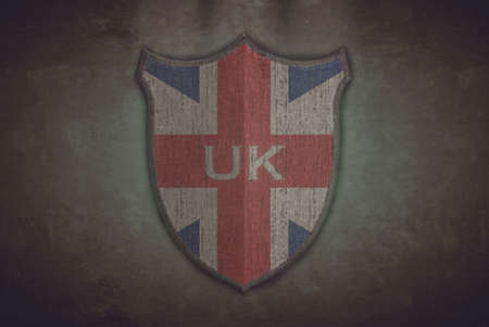 Illustration with a shield old UK flag  illustration