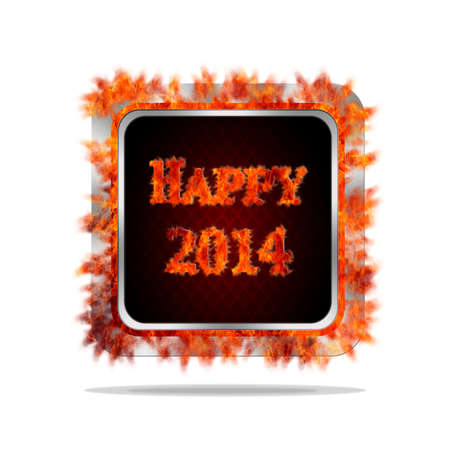 Aluminum frame illustration with happy 2014 burning signal Stock Illustration - 21702632