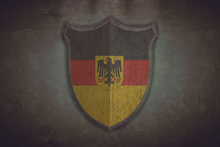 Illustration with a shield old Germany flag  illustration