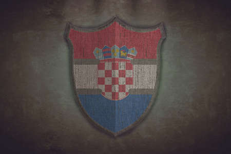 Illustration with a shield old Croatia flag  illustration