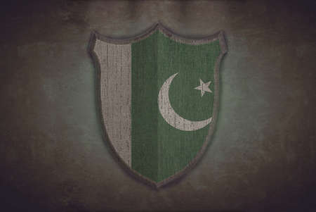 Illustration with a shield old Pakistan flag  illustration