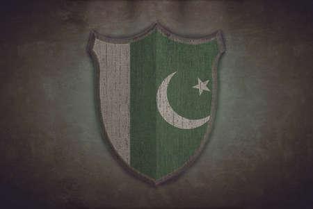 pakistan flag: Illustration with a shield old Pakistan flag