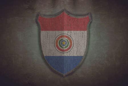 bandera de paraguay: Ilustraci�n con una vieja Paraguay bandera del escudo