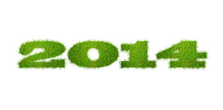 Illustration with a 2014 year on grass  illustration