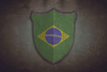 Illustration with a shield old Brazil flag  illustration