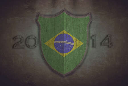 Illustration with a shield old Brazil 2014 flag  illustration