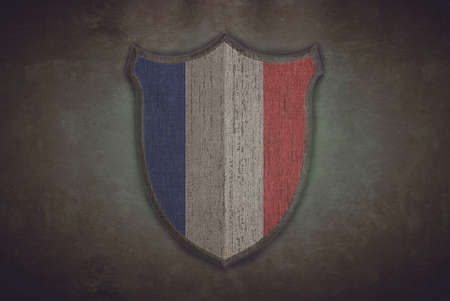 Illustration with a shield old France flag  illustration