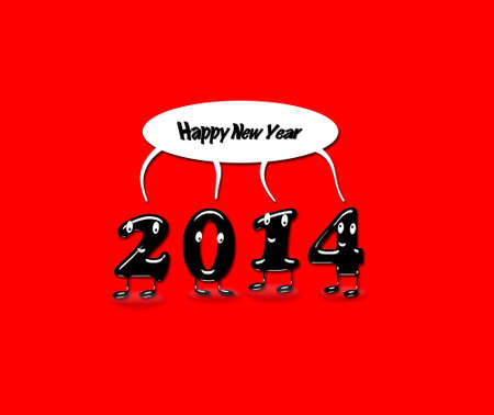 Illustration with 2014 Happy new year with a red background  illustration