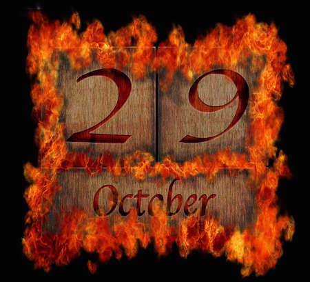Illustration with a burning wooden calendar October 29  illustration