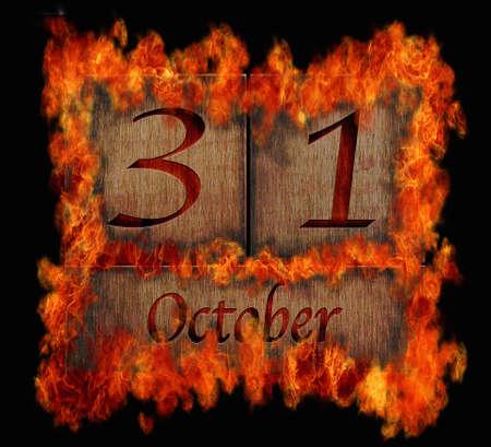 oct 31: Ilustraci�n con un calendario de madera ardiente 31 de octubre