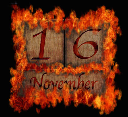 number 16: Illustration with a burning wooden calendar November 16