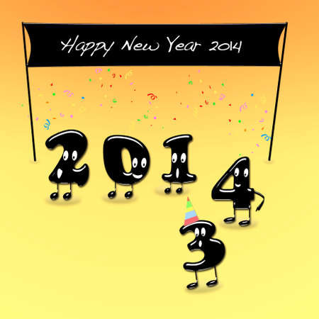 Illustration with a Happy New Year 2014 Stock Illustration - 21880447