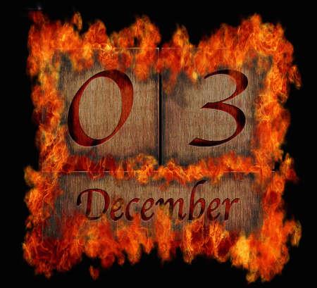 event planning: Illustration with a burning wooden calendar December 3