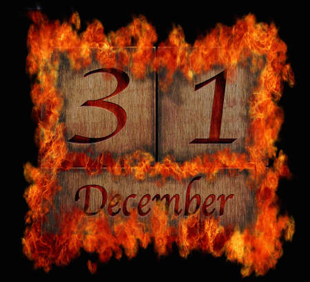 31: Illustration with a burning wooden calendar December 31  Stock Photo