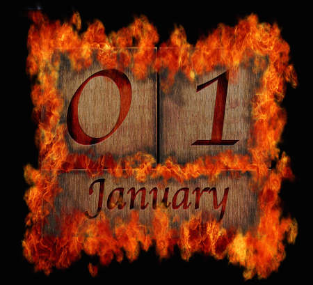 january 1: Illustration with a burning wooden calendar January 1  Stock Photo