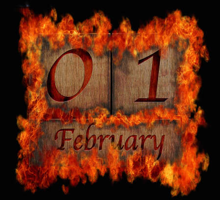 february 1: Illustration with a burning wooden calendar February 1