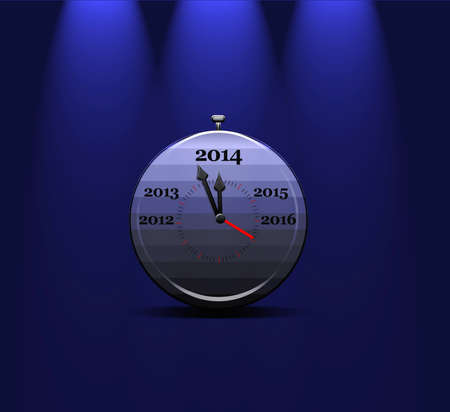 Illustration with a metal clock calendar 2014  Stock Illustration - 22252531