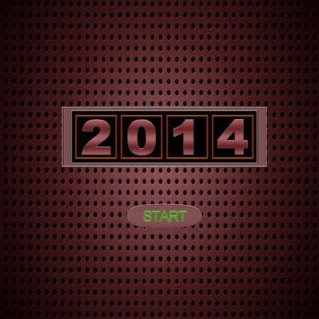 Illustration with 2014 start on red background Stock Illustration - 22364898